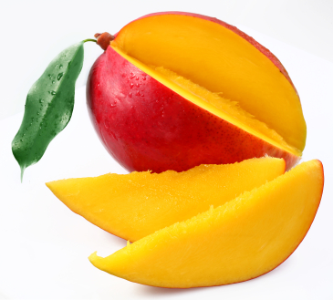 Mango with lobules on a white background